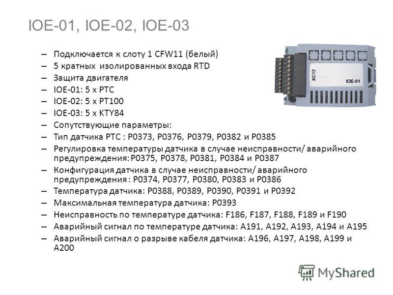 Новые принадлежности IOC-01, IOC-02 Подключается к слоту 1 CFW11 (белый) Расширение цифровых входов и выходов ПО Soft-PLC IOC-01: 8 цифровых вводов + 4 цифровых вывода (реле) IOC-02: 8 цифровых вводов + 8 цифровых выводов (NPN с открытым коллектором)