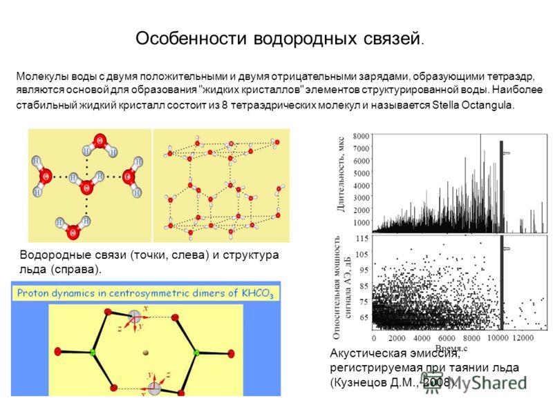 Особенности водородных связей. Водородные связи (точки, слева) и структура льда (справа). Акустическая эмиссия, регистрируемая при таянии льда (Кузнецов Д.М., 2008). Молекулы воды с двумя положительными и двумя отрицательными зарядами, образующими те