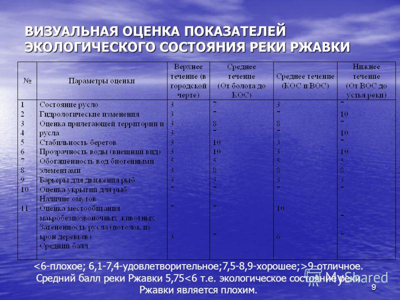 ВИЗУАЛЬНАЯ ОЦЕНКА ПОКАЗАТЕЛЕЙ ЭКОЛОГИЧЕСКОГО СОСТОЯНИЯ РЕКИ РЖАВКИ 9-отличное. Средний балл реки Ржавки 5,75