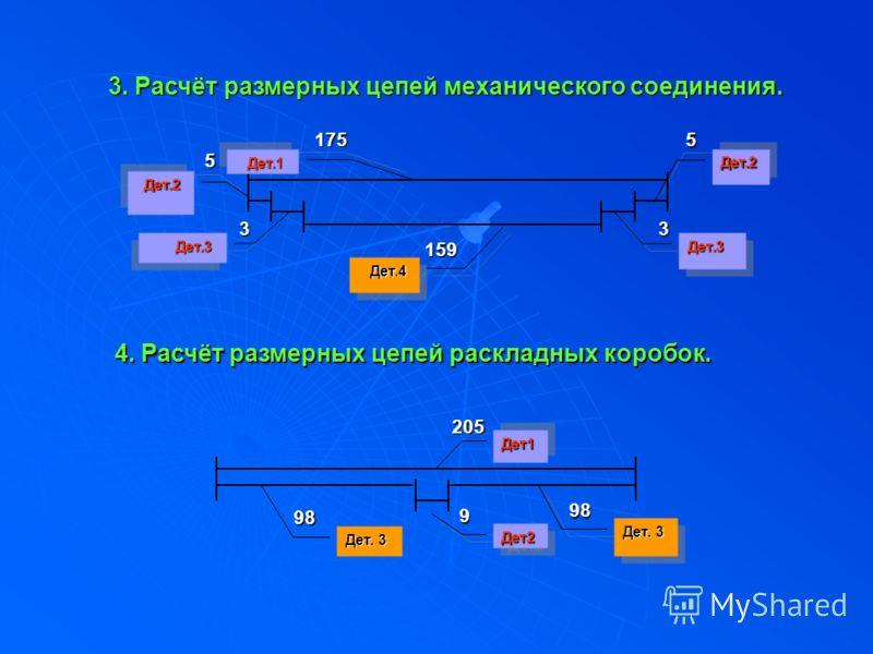 3. Расчёт размерных цепей механического соединения. Дет.4 159 33 55175 4 44 4. Расчёт размерных цепей раскладных коробок. Дет2Дет2 Дет1Дет1 Дет.2 Дет.2Дет.2 Дет.3 Дет.3Дет.3 Дет.1 9205 Дет. 3 9898