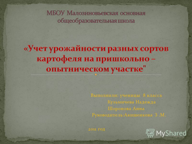 Выполнили: ученицы 8 класса Кузьмичева Надежда Шоронова Анна Руководитель:Акишенкова З.М. 2011 год