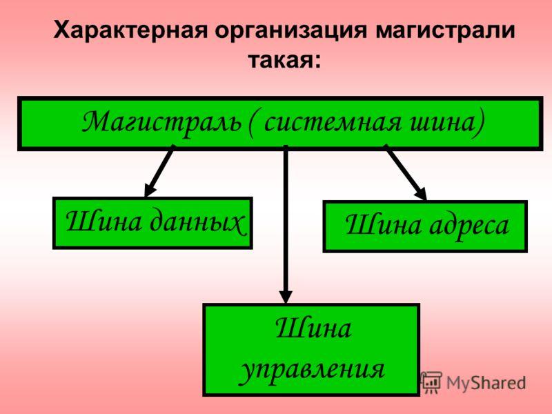 Магистраль ( системная шина) Шина данных Шина адреса Шина управления Характерная организация магистрали такая: