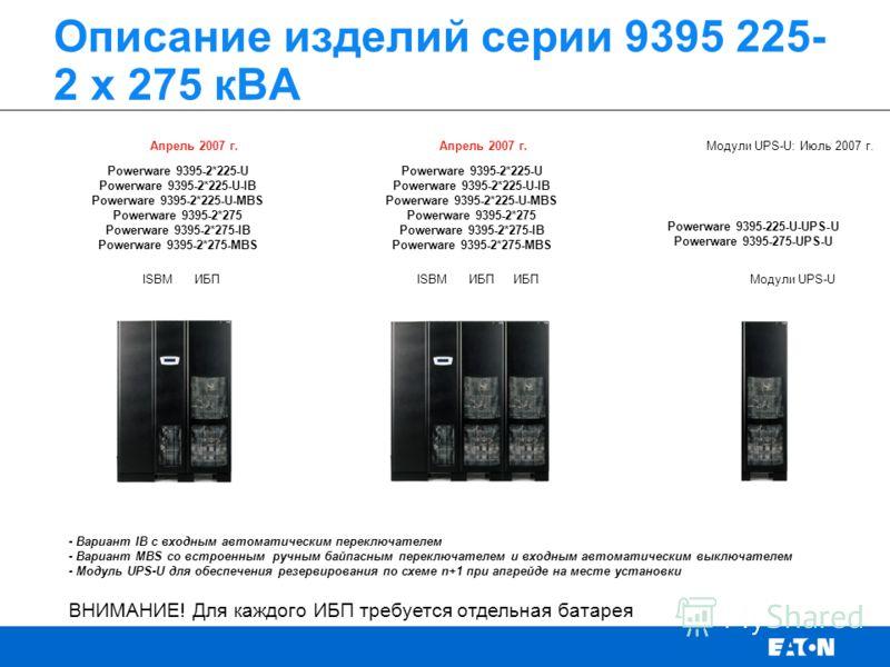 Описание изделий серии 9395 225- 2 х 275 кВА ВНИМАНИЕ! Для каждого ИБП требуется отдельная батарея ISBMИБП Модули UPS-UISBMИБП Апрель 2007 г. Модули UPS-U: Июль 2007 г. Powerware 9395-2*225-U Powerware 9395-2*225-U-IB Powerware 9395-2*225-U-MBS Power
