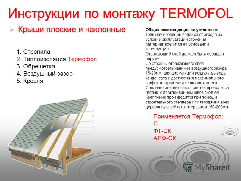 Инструкции по монтажу TERMOFOL Крыши плоские и наклонные Крыши плоские и наклонные Общие рекомендации по установке: Толщину изоляции подбирают исходя из условий эксплуатации строения. Материал крепится на основании конструкции. Отражающий слой должен