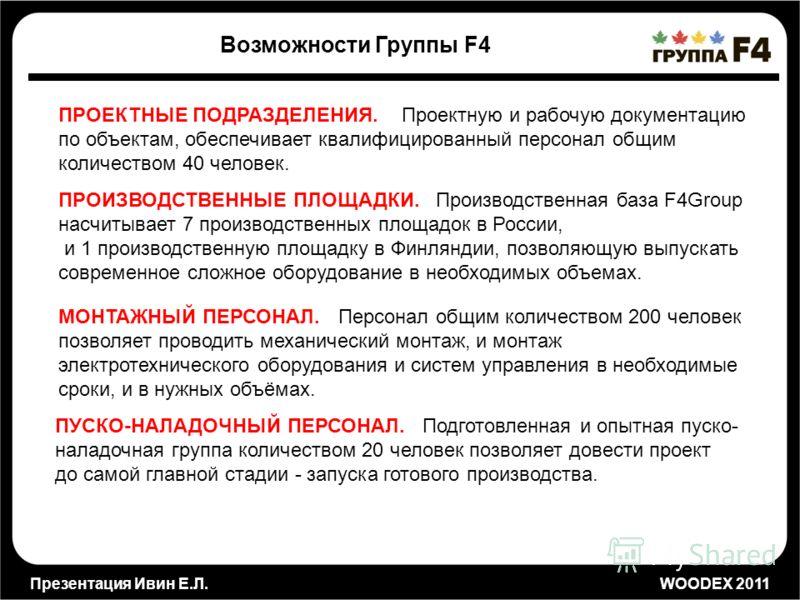 Презентация Ивин Е.Л. WOODEX 2011 Возможности Группы F4 ПРОЕКТНЫЕ ПОДРАЗДЕЛЕНИЯ. Проектную и рабочую документацию по объектам, обеспечивает квалифицированный персонал общим количеством 40 человек. ПРОИЗВОДСТВЕННЫЕ ПЛОЩАДКИ. Производственная база F4Gr