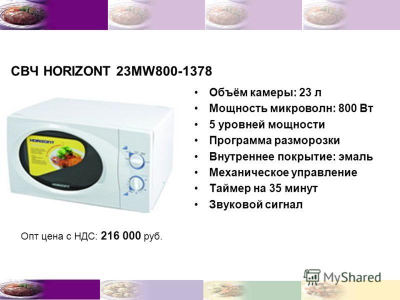 СВЧ HORIZONT 23MW800-1378 Объём камеры: 23 л Мощность микроволн: 800 Вт 5 уровней мощности Программа разморозки Внутреннее покрытие: эмаль Механическое управление Таймер на 35 минут Звуковой сигнал Опт цена с НДС: 216 000 руб.