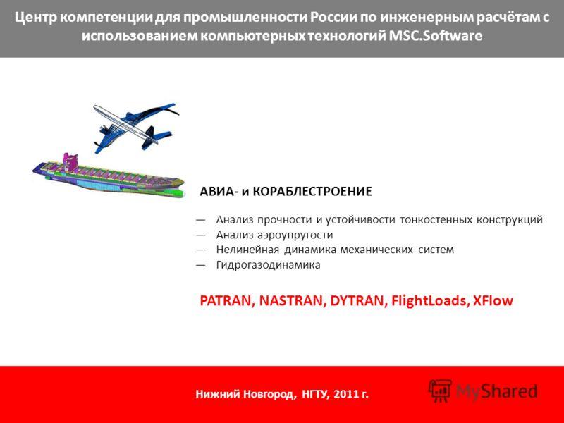 Центр компетенции для промышленности России по инженерным расчётам с использованием компьютерных технологий MSC.Software АВИА- и КОРАБЛЕСТРОЕНИЕ Анализ прочности и устойчивости тонкостенных конструкций Анализ аэроупругости Нелинейная динамика механич
