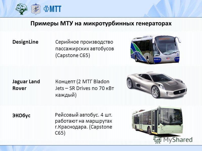 Примеры МТУ на микротурбинных генераторах DesignLineСерийное производство пассажирских автобусов (Capstone C65) Рейсовый автобус. 4 шт. работают на маршрутах г.Краснодара. (Capstone C65) ЭКОбус Jaguar Land Rover Концепт (2 МТГ Bladon Jets – SR Drives
