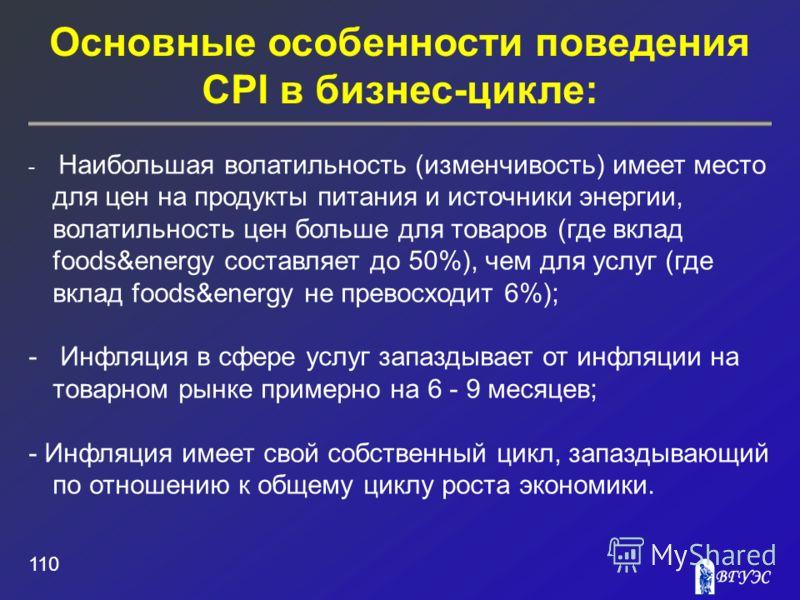 Основные особенности поведения CPI в бизнес-цикле: 110 - Наибольшая волатильность (изменчивость) имеет место для цен на продукты питания и источники энергии, волатильность цен больше для товаров (где вклад foods&energy составляет до 50%), чем для усл
