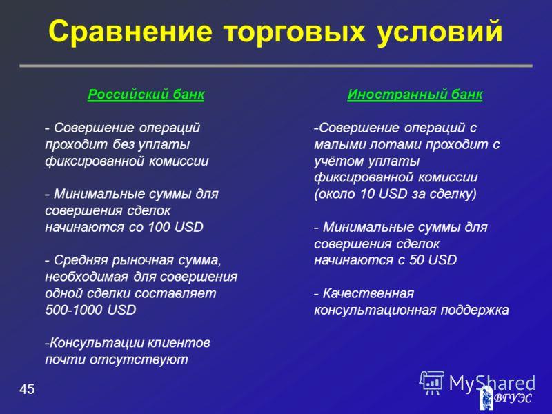 Сравнение торговых условий 45 Российский банк - Совершение операций проходит без уплаты фиксированной комиссии - Минимальные суммы для совершения сделок начинаются со 100 USD - Средняя рыночная сумма, необходимая для совершения одной сделки составляе