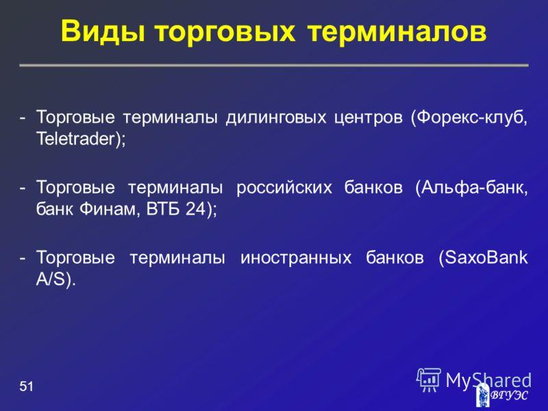 Виды торговых терминалов 51 -Торговые терминалы дилинговых центров (Форекс-клуб, Teletrader); -Торговые терминалы российских банков (Альфа-банк, банк Финам, ВТБ 24); -Торговые терминалы иностранных банков (SaxoBank A/S).