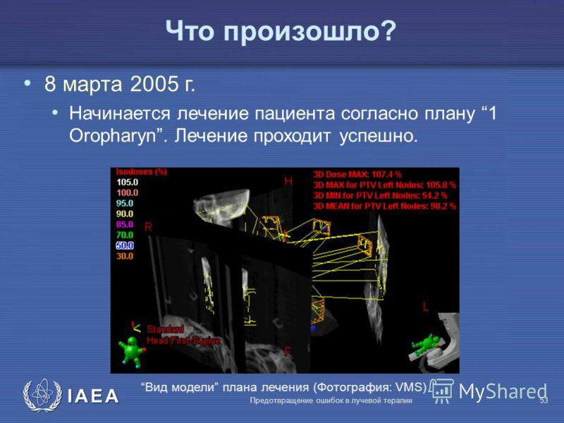 IAEA Предотвращение ошибок в лучевой терапии53 Что произошло? 8 марта 2005 г. Начинается лечение пациента согласно плану 1 Oropharyn. Лечение проходит успешно. Вид модели плана лечения (Фотография: VMS)