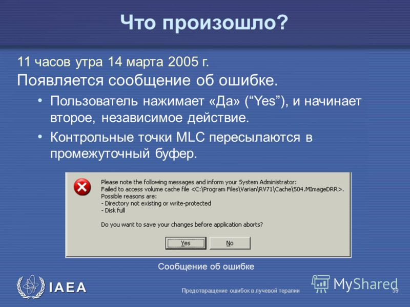 IAEA Предотвращение ошибок в лучевой терапии59 Что произошло? 11 часов утра 14 марта 2005 г. Появляется сообщение об ошибке. Пользователь нажимает «Да» (Yes), и начинает второе, независимое действие. Контрольные точки MLC пересылаются в промежуточный
