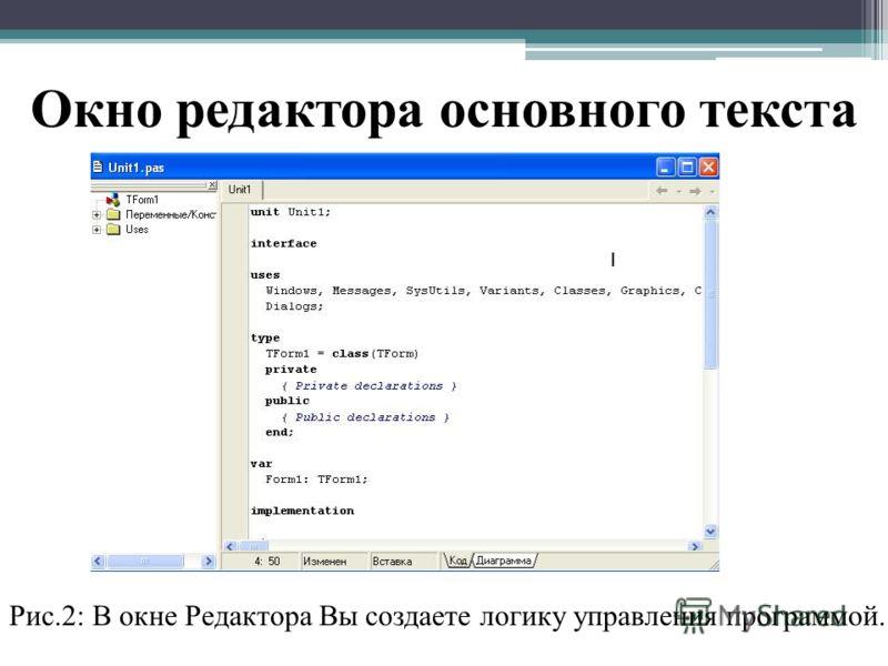 Окно редактора основного текста Рис.2: В окне Редактора Вы создаете логику управления программой.