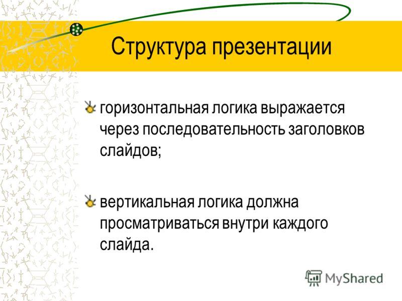 Структура презентации горизонтальная логика выражается через последовательность заголовков слайдов; вертикальная логика должна просматриваться внутри каждого слайда.