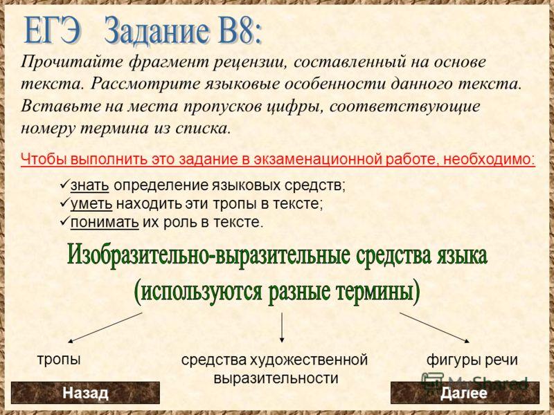 Прочитайте фрагмент рецензии, составленный на основе текста. Рассмотрите языковые особенности данного текста. Вставьте на места пропусков цифры, соответствующие номеру термина из списка. Чтобы выполнить это задание в экзаменационной работе, необходим