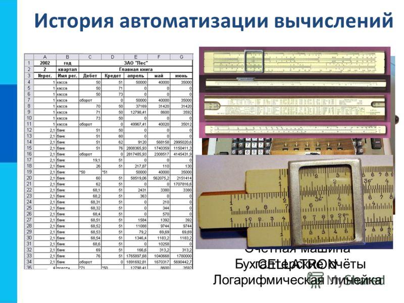 История автоматизации вычислений Бухгалтерские счёты Счётная машина CELLATRON Арифмометр Феликс Механическая счетная машина Шикарда (1623) Логарифмическая линейка