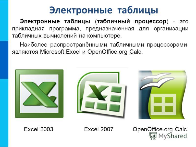 Электронные таблицы Электронные таблицы (табличный процессор) - это прикладная программа, предназначенная для организации табличных вычислений на компьютере. Наиболее распространёнными табличными процессорами являются Microsoft Excel и OpenOffice.org