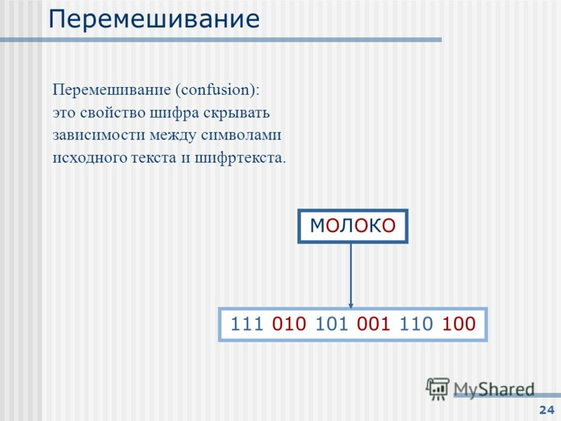 24 Перемешивание Перемешивание (confusion): это свойство шифра скрывать зависимости между символами исходного текста и шифртекста. МОЛОКОМОЛОКО 111 010 101 001 110 100