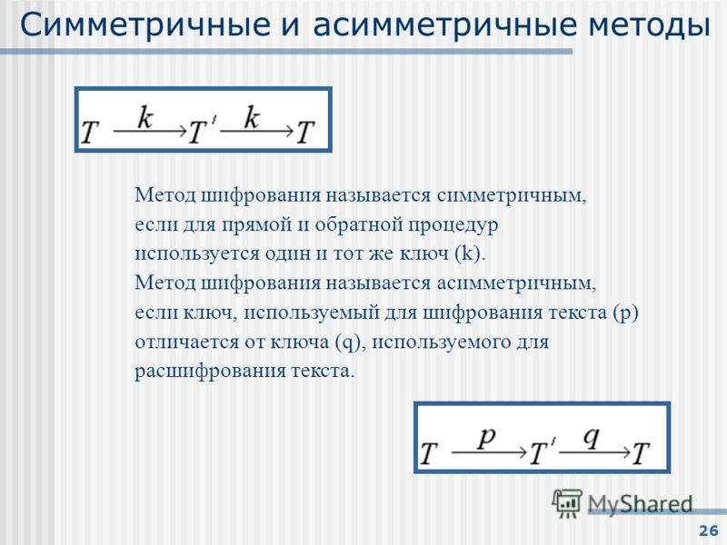 26 Симметричные и асимметричные методы Метод шифрования называется симметричным, если для прямой и обратной процедур используется один и тот же ключ (k). Метод шифрования называется асимметричным, если ключ, используемый для шифрования текста (p) отл
