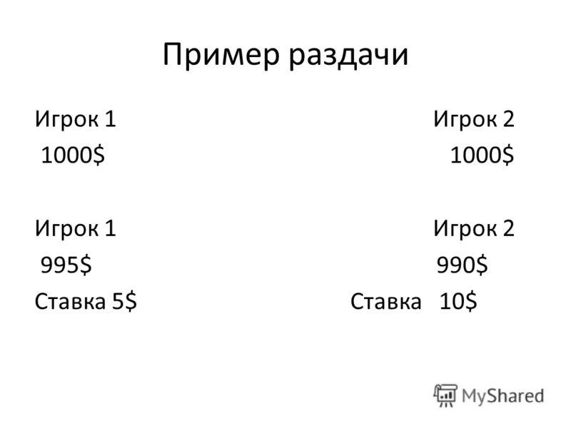 Пример раздачи Игрок 1 Игрок 2 1000$ 1000$ Игрок 1 Игрок 2 995$ 990$ Ставка 5$ Ставка 10$