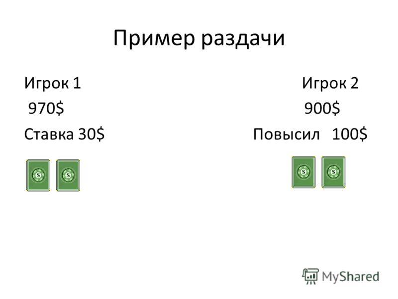 Пример раздачи Игрок 1 Игрок 2 970$ 900$ Ставка 30$ Повысил 100$