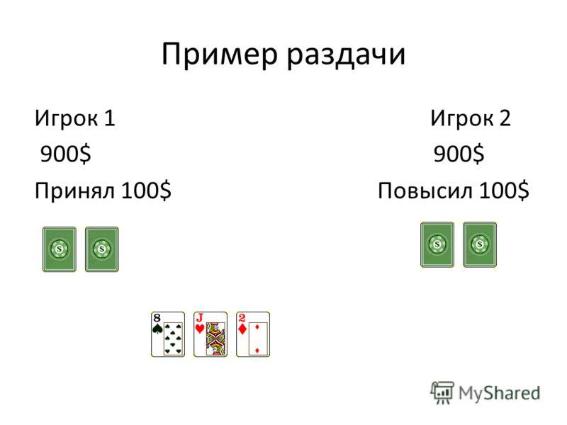 Пример раздачи Игрок 1 Игрок 2 900$ 900$ Принял 100$ Повысил 100$