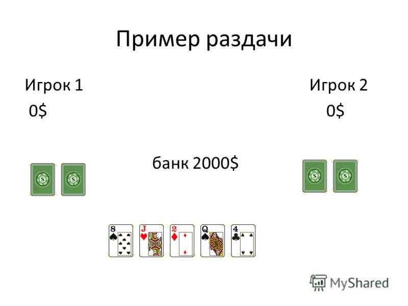 Пример раздачи Игрок 1 Игрок 2 0$ 0$ банк 2000$