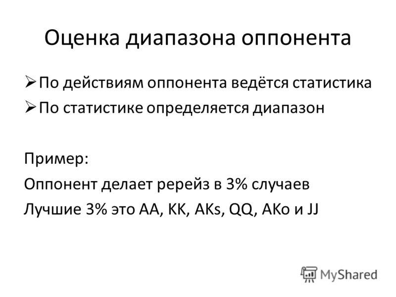Оценка диапазона оппонента По действиям оппонента ведётся статистика По статистике определяется диапазон Пример: Оппонент делает ререйз в 3% случаев Лучшие 3% это AA, KK, AKs, QQ, AKo и JJ