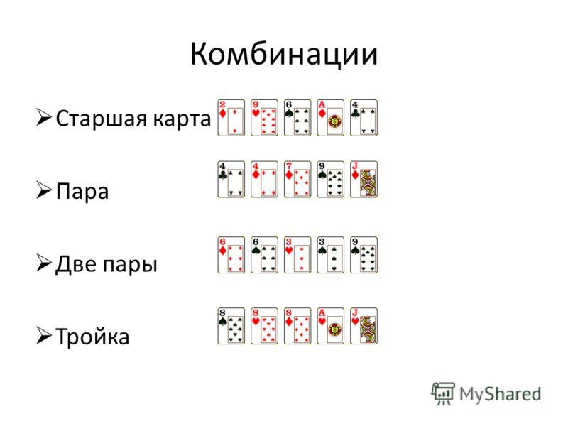 Комбинации Старшая карта Пара Две пары Тройка