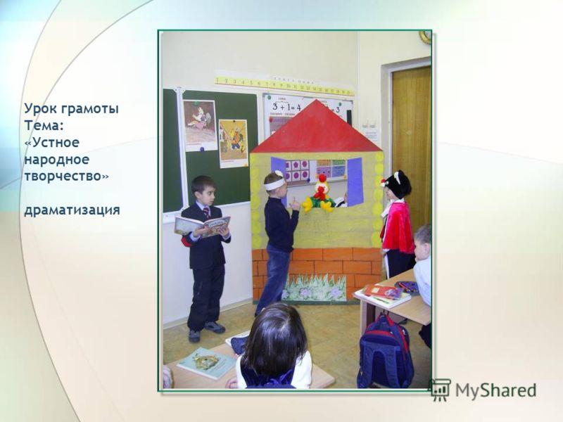 Урок грамоты Тема: «Устное народное творчество» драматизация