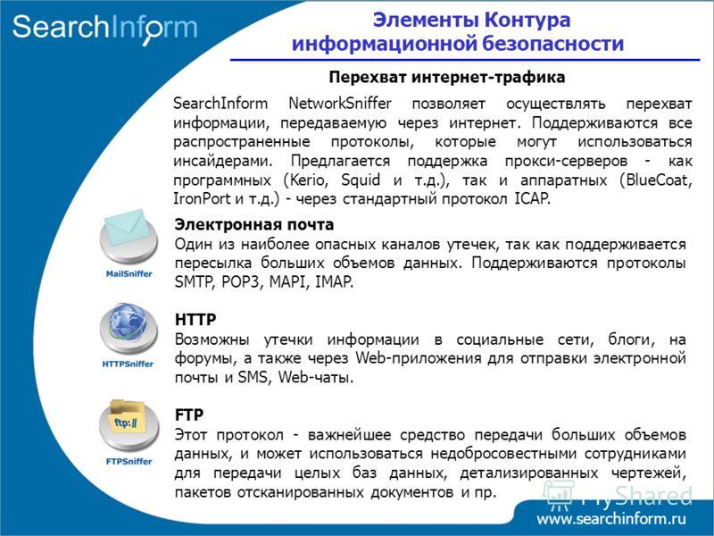 www.searchinform.ru Электронная почта Один из наиболее опасных каналов утечек, так как поддерживается пересылка больших объемов данных. Поддерживаются протоколы SMTP, POP3, MAPI, IMAP. HTTP Возможны утечки информации в социальные сети, блоги, на фору