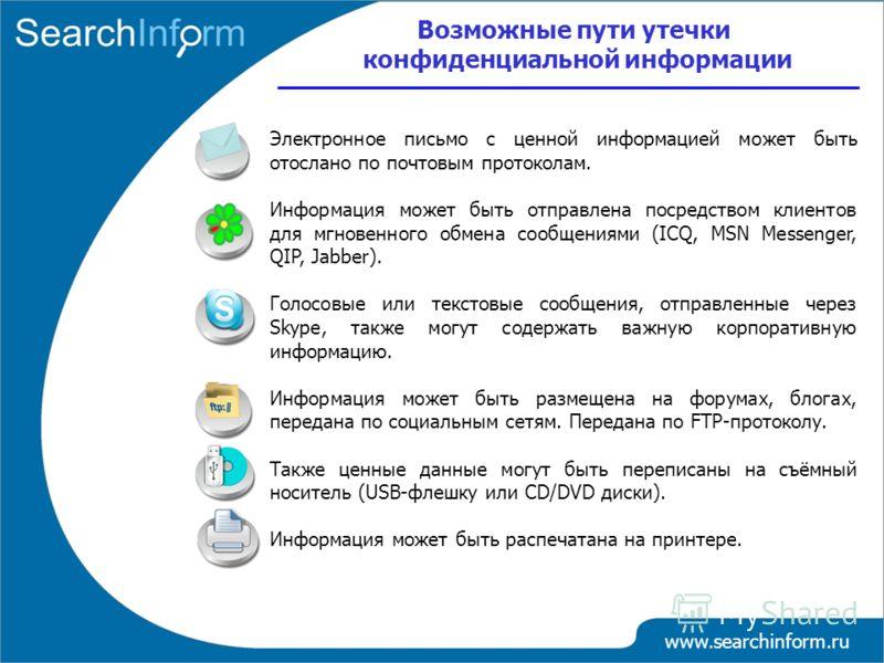 www.searchinform.ru Электронное письмо с ценной информацией может быть отослано по почтовым протоколам. Информация может быть отправлена посредством клиентов для мгновенного обмена сообщениями (ICQ, MSN Messenger, QIP, Jabber). Голосовые или текстовы