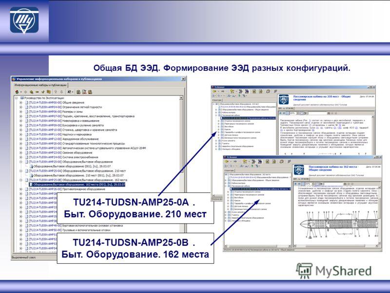 TU214-TUDSN-AMP25-0A. Быт. Оборудование. 210 мест TU214-TUDSN-AMP25-0B. Быт. Оборудование. 162 местa Общая БД ЭЭД. Формирование ЭЭД разных конфигураций.