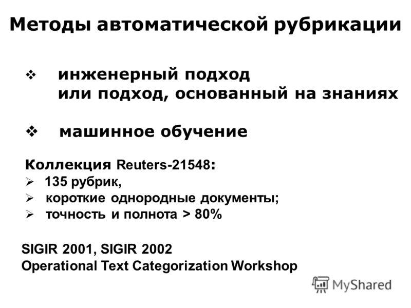 Методы автоматической рубрикации инженерный подход или подход, основанный на знаниях машинное обучение Коллекция Reuters-21548 : 135 рубрик, короткие однородные документы; точность и полнота > 80% SIGIR 2001, SIGIR 2002 Operational Text Categorizatio
