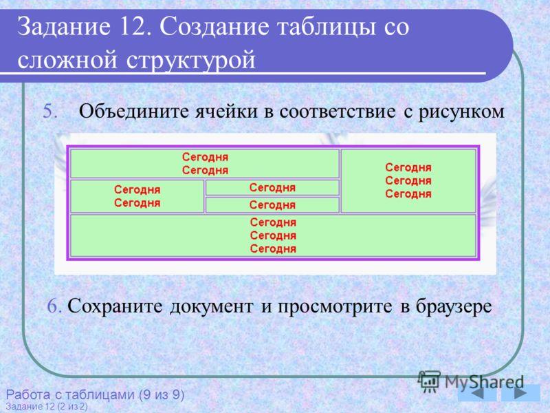 Задание 12. Создание таблицы со сложной структурой 5.Объедините ячейки в соответствие с рисунком Работа с таблицами (9 из 9) Задание 12 (2 из 2) 6.Сохраните документ и просмотрите в браузере