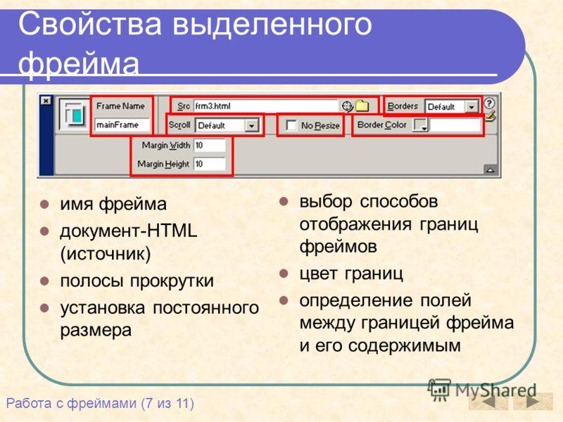 Свойства выделенного фрейма имя фрейма документ-HTML (источник) полосы прокрутки установка постоянного размера выбор способов отображения границ фреймов цвет границ определение полей между границей фрейма и его содержимым Работа с фреймами (7 из 11)