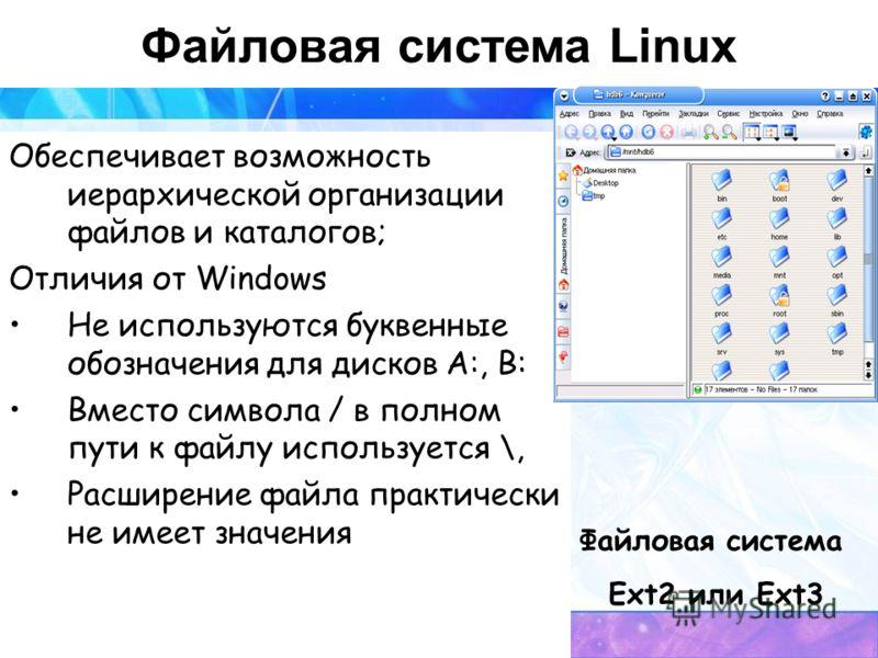 Файловая система Linux Обеспечивает возможность иерархической организации файлов и каталогов; Отличия от Windows Не используются буквенные обозначения для дисков А:, В: Вместо символа / в полном пути к файлу используется \, Расширение файла практичес