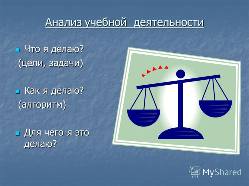 Анализ учебной деятельности Что я делаю? Что я делаю? (цели, задачи) (цели, задачи) Как я делаю? Как я делаю? (алгоритм) (алгоритм) Для чего я это делаю? Для чего я это делаю?