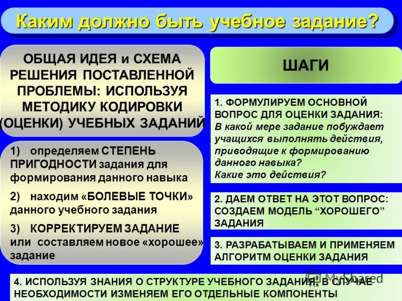 29 ОБЩАЯ ИДЕЯ и СХЕМА РЕШЕНИЯ ПОСТАВЛЕННОЙ ПРОБЛЕМЫ: ИСПОЛЬЗУЯ МЕТОДИКУ КОДИРОВКИ (ОЦЕНКИ) УЧЕБНЫХ ЗАДАНИЙ 1)определяем СТЕПЕНЬ ПРИГОДНОСТИ задания для формирования данного навыка 2)находим «БОЛЕВЫЕ ТОЧКИ» данного учебного задания 3)КОРРЕКТИРУЕМ ЗАДА