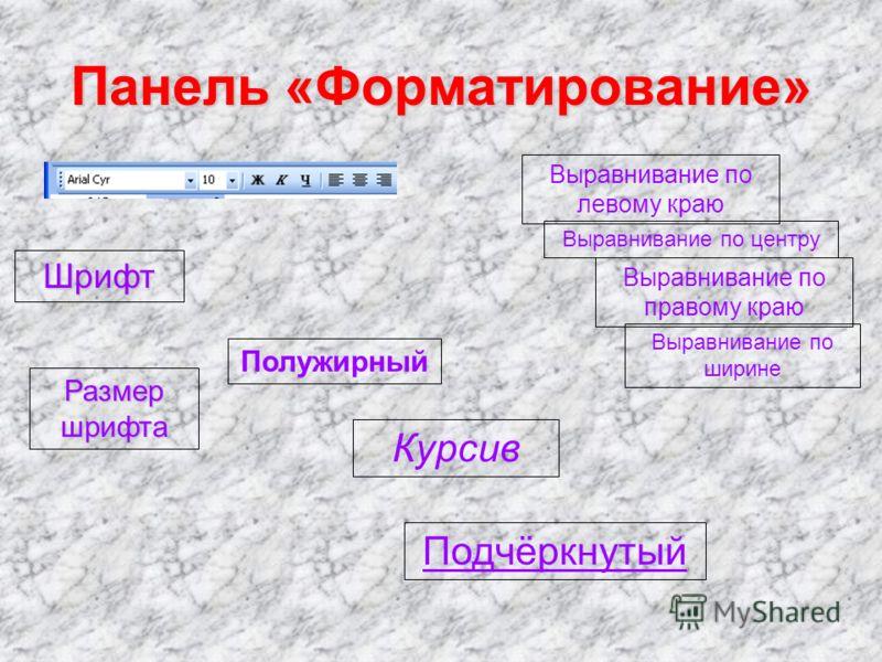 Шрифт Размер шрифта Полужирный Курсив Подчёркнутый Выравнивание по левому краю Выравнивание по центру Выравнивание по правому краю Выравнивание по ширине Панель «Форматирование»