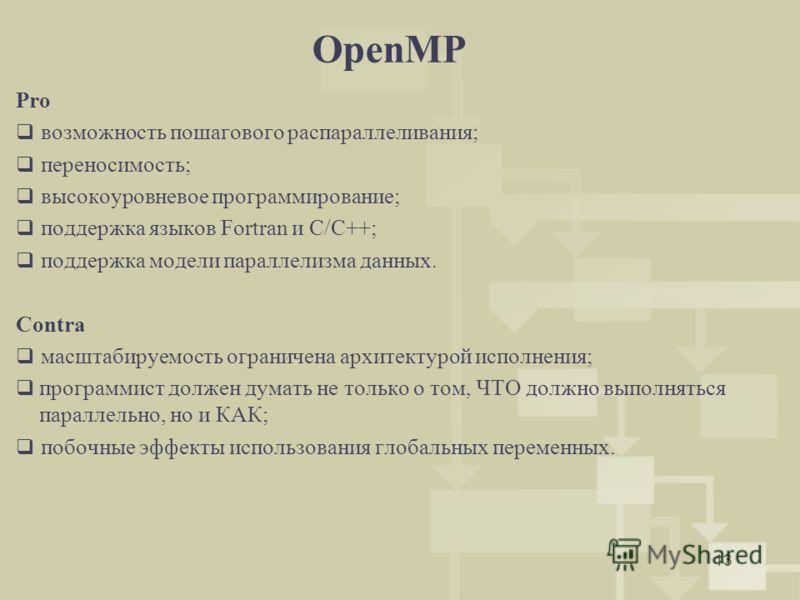 13 OpenMP Pro возможность пошагового распараллеливания; переносимость; высокоуровневое программирование; поддержка языков Fortran и C/C++; поддержка модели параллелизма данных. Contra масштабируемость ограничена архитектурой исполнения; программист д