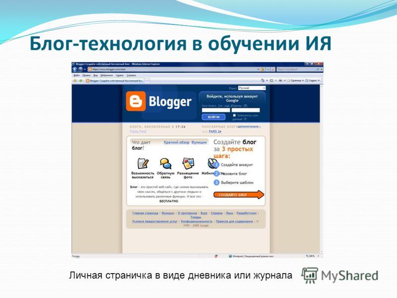 Блог-технология в обучении ИЯ Личная страничка в виде дневника или журнала