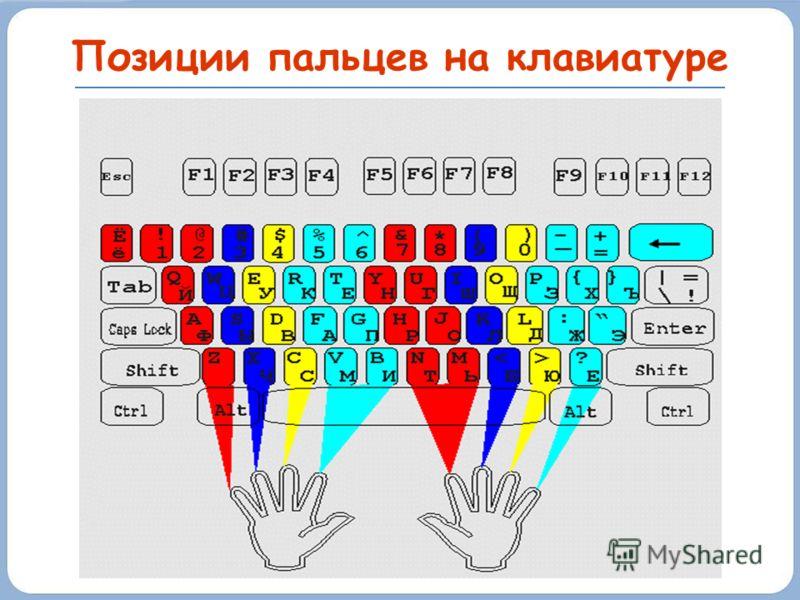 Позиции пальцев на клавиатуре