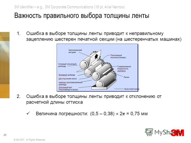 3M Identifier – e.g., 3M Corporate Communications (16 pt. Arial Narrow) 28 © 3M 2007. All Rights Reserved. Важность правильного выбора толщины ленты 1.Ошибка в выборе толщины ленты приводит к неправильному зацеплению шестерен печатной секции (на шест