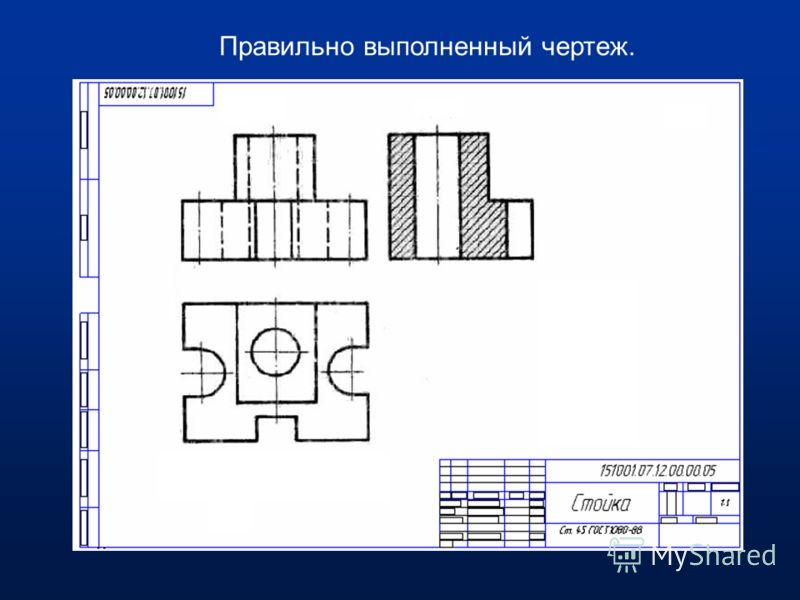 1 - неправильное оформление разреза симметричной детали; 2- штриховка на разрезе детали не соответствует графическому изображению металла в разрезе; 3- нужны сплошные основные линии; 1 2 3