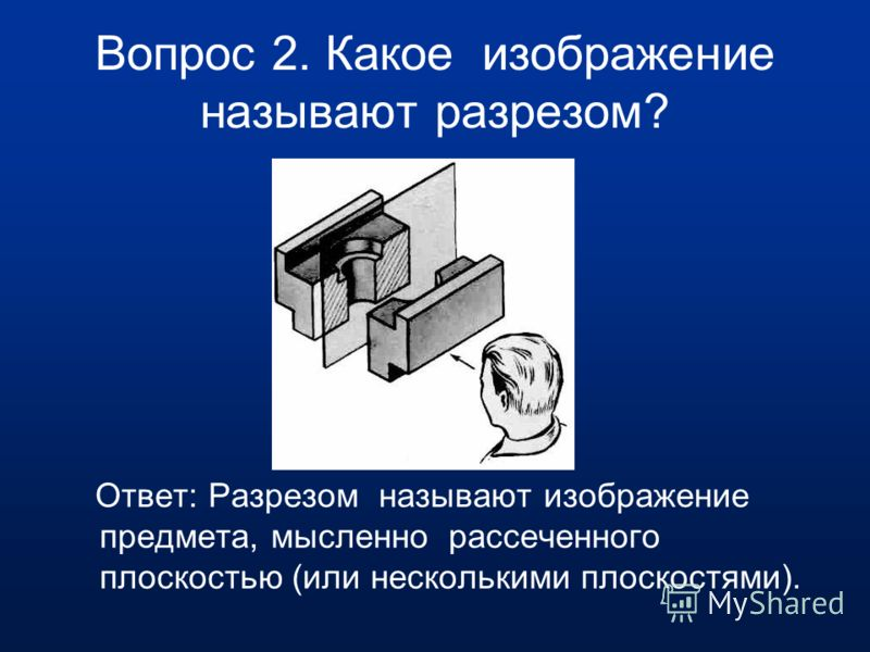 Вопрос 1.Для чего применяют на чертеже разрезы? Ответ: Разрезы применяют чтобы яснее показать внутреннее устройство детали.