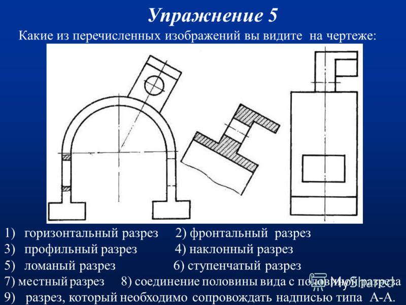 Какие из перечисленных изображений вы видите на чертеже: Упражнение 4 (Ответы) 1)горизонтальный разрез 2)фронтальный разрез 3)профильный разрез 4)наклонный разрез 5)ломаный разрез 6)ступенчатый разрез 7)местный разрез 8)соединение половины вида с пол