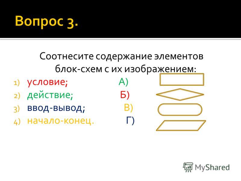 Соотнесите содержание элементов блок-схем с их изображением: 1) условие; А) 2) действие; Б) 3) ввод-вывод; В) 4) начало-конец. Г)