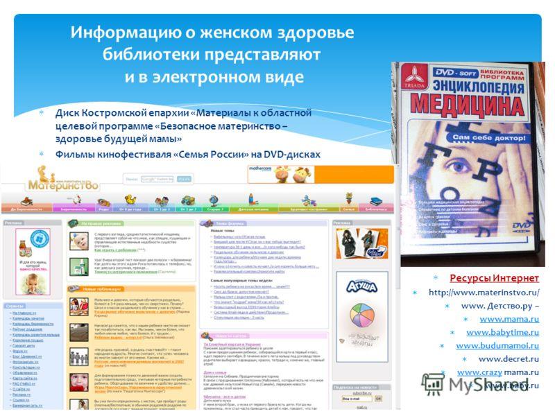 Ресурсы Интернет http://www.materinstvo.ru/ www. Детство.ру – www.mama.ru www.mama.ru www.babytime.ru www.babytime.ru www.budumamoi.ru www.budumamoi.ru www.decret.ru www.crazy mama.ru www.crazy www.baby.ru Информацию о женском здоровье библиотеки пре